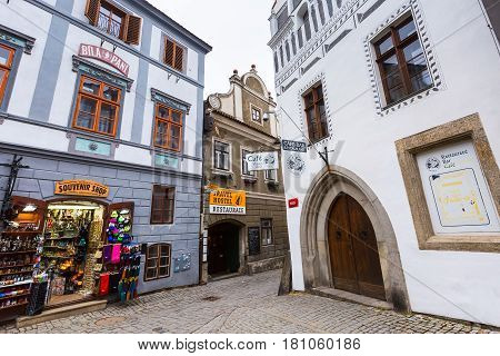 Cesky Krumlov, Czech Republic - February 26, 2017: Famous landmark, historic center street view of UNESCO World Heritage Site town