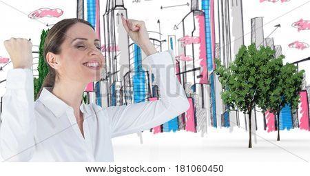 Digital composite of Digital composite image of successful businesswoman celebrating in drawn city