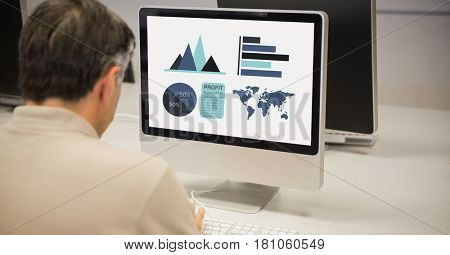 Digital composite of Rear view of businessman making graphs on computer