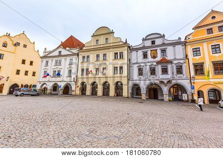 Cesky Krumlov, Czech Republic - February 26, 2017: Famous landmark, historic center street view and houses on the main square