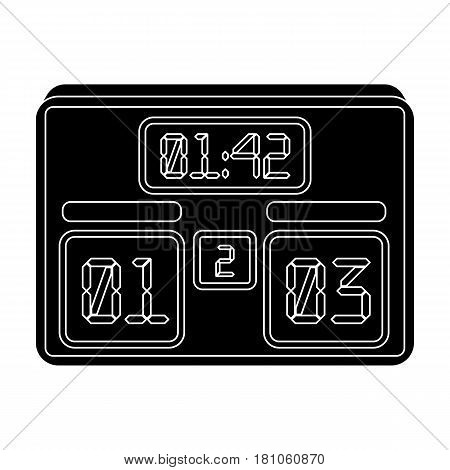 Board with a score of football.Fans single icon in black  vector symbol stock illustration.