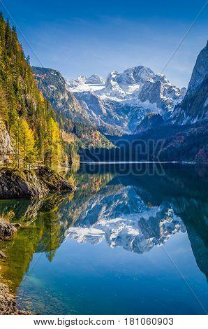 Autumn Scenery With Dachstein Mountain At Gosausee, Salzkammergut, Austria