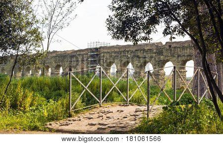 Parco degli acquedotti along the Appian way in Rome