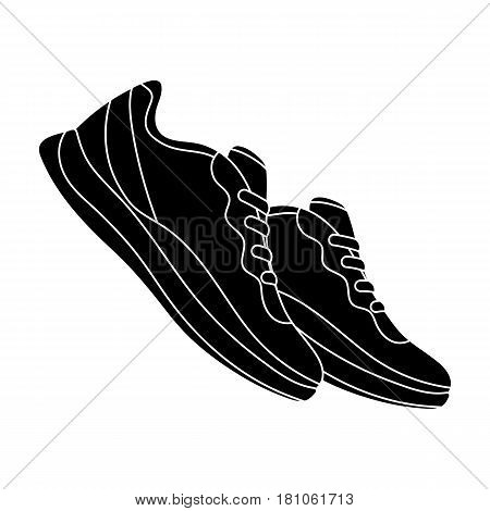 Blue sneakers for sports. Sports shoes .Gym And Workout single icon in black style vector symbol stock web illustration.