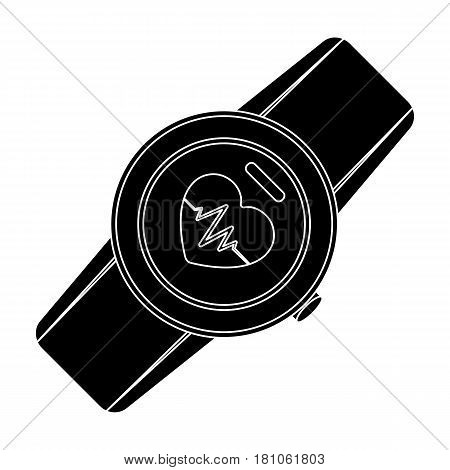 Sports wrist watch with heart rate measurement. Watch for athletes .Gym And Workout single icon in black style vector symbol stock web illustration.