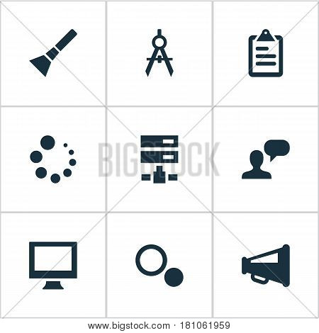 Vector Illustration Set Of Simple UI Icons. Elements Display, Loading, Blueprint And Other Synonyms Gadget, List And Flashlight.
