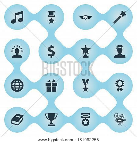 Vector Illustration Set Of Simple Reward Icons. Elements Award, Miracle, Guard And Other Synonyms Textbook, Dollar And Shield.