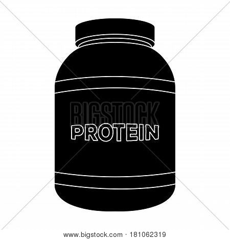 The Bank labeled protein. Sports supplements in nutrition for muscle growth.Gym And Workout single icon in black style vector symbol stock web illustration.