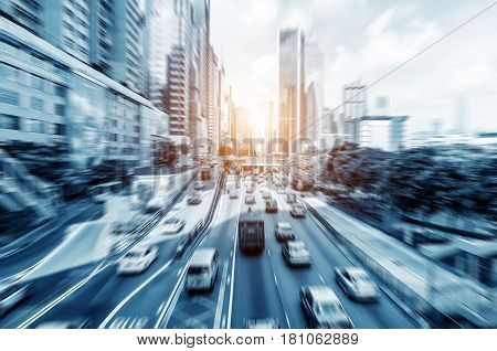 City streets of endless cars and skyscrapers Hong Kong China.