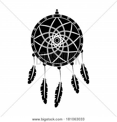Dream catcher with feathers.Hippy single icon in black style vector symbol stock illustration .