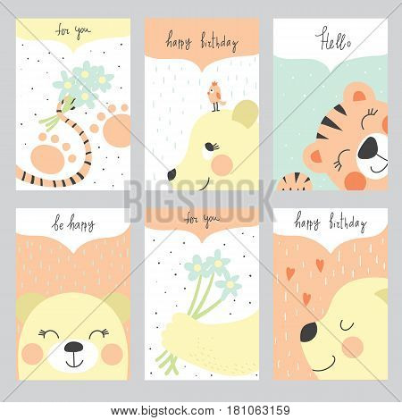 Set of 6 children's Birthday backgrounds with tiger bear bird and flowers. Vector illustration..