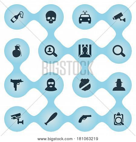 Vector Illustration Set Of Simple Crime Icons. Elements Magnifier, Thief, Explosive And Other Synonyms Magnifier, Officer And Detective.