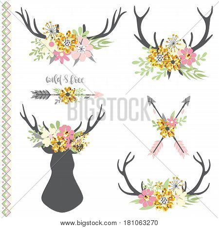 Hand drawn vintage set with animal horns with flowers and leaves with sparkles. Rustic style illustration in vector.