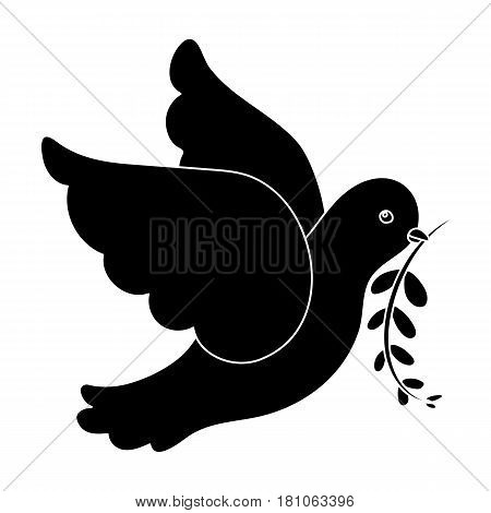 Pigeon of the World with a twig in its beak.Hippy single icon in black style vector symbol stock illustration .