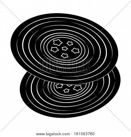 Vinyl records.Hippy single icon in black style vector symbol stock illustration .