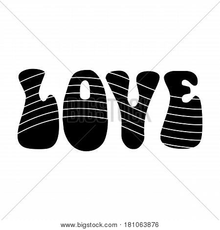 Rainbow inscription of the word love.Hippy single icon in black style vector symbol stock illustration .
