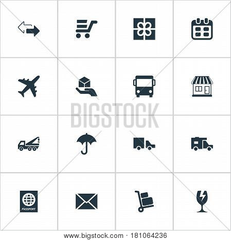 Vector Illustration Set Of Simple Handing Icons. Elements Mall, Airline, Van And Other Synonyms Plane, Mall And Agenda.