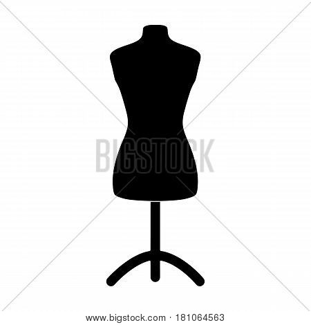 Plastic dummy on the stand.Sewing or tailoring tools kit single icon in black style vector symbol stock web illustration.