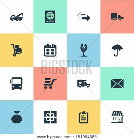 Vector Illustration Set Of Simple Carting Icons. Elements Holdall, Mall, Van And Other Synonyms Message, Sack And Trolley.