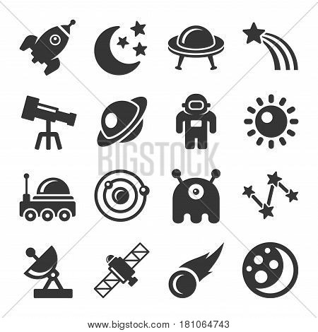 Space Icon Set on White Background. Vector