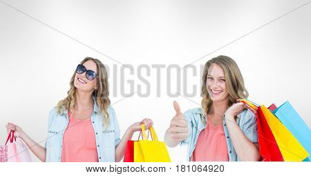 Digital composite of Multiple image of woman with shopping bags