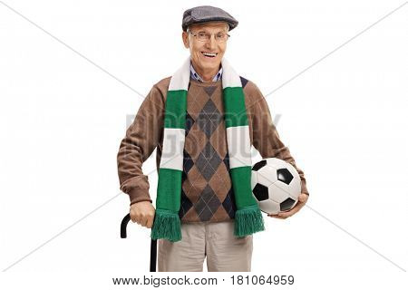 Elderly soccer fan with a scarf and a football isolated on white background