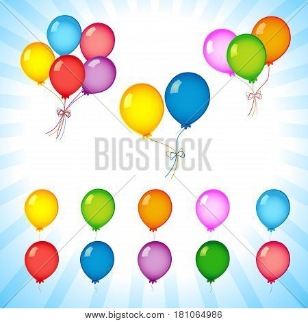 Colorful helium balloons on flash radial lines. Bunches and groups of colorful helium balloons isolated on on flash radial lines background