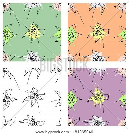 Vector Set Of Seamless Floral Pattern With Flowers, Leaves, Decorative Elements, Splash, Blots, Drop