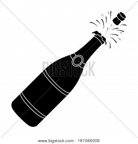 A bottle of champagne with a cork.Party and parties single icon in black style vector symbol stock web illustration.