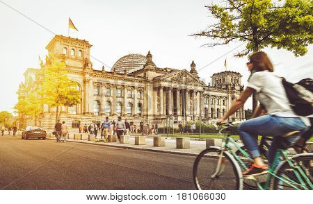 Berlin City Life With Reichstag At Sunset In Summer