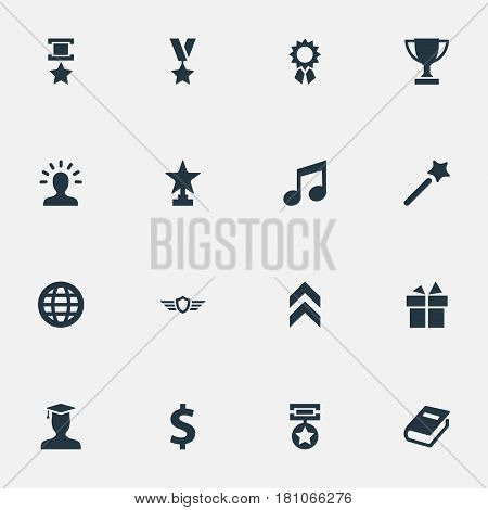 Vector Illustration Set Of Simple Champ Icons. Elements Award, Melody, Guard And Other Synonyms Reward, Miracle And Shield.