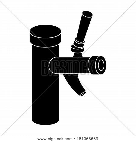 Metal faucet for dispensing cold kvass and beer in bars. Pub pattern icon in black style vector symbol stock web illustration.