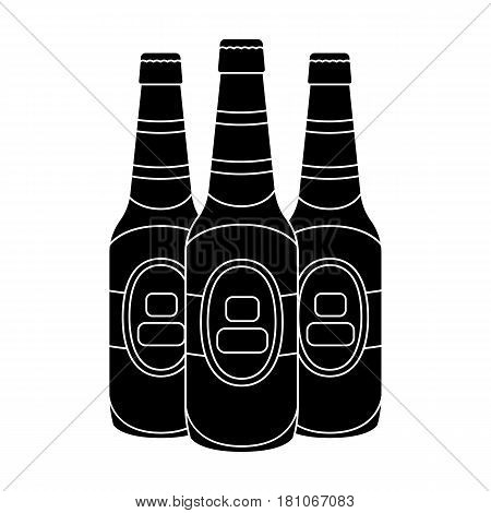 Green glass beer bottles. Alcoholic drink pub. Pub single icon in black style vector symbol stock web illustration.