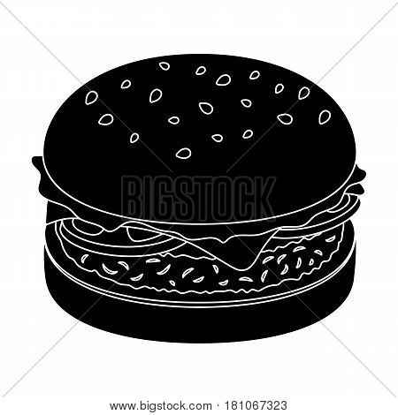 Burger with cutlet and slabom. Bar food with beer. Pub single icon in black style vector symbol stock web illustration.
