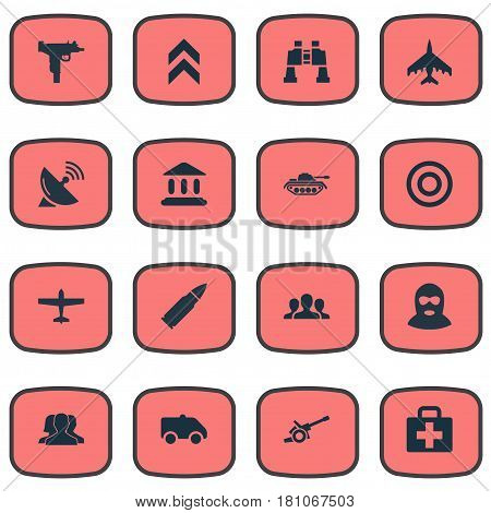 Vector Illustration Set Of Simple Military Icons. Elements Ammunition, Howitzer, Heavy Weapon And Other Synonyms Firearm, Bomber And Aid.