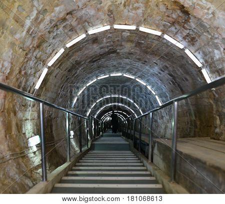 Turda Romania salt mine entrance stairs tunnel