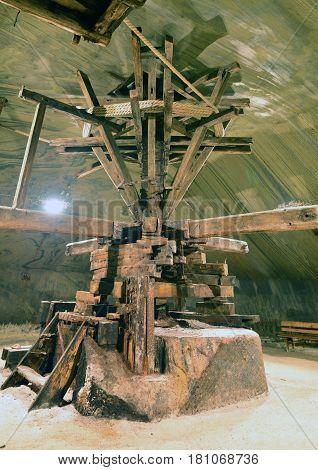 Old wooden extraction machinery in Turda salt mine