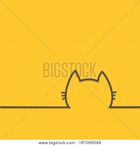Black cat head face contour silhouette line icon. Kitty kitten with whisker Cute cartoon character. Baby pet Yellow background. Isolated Flat design Vector illustration