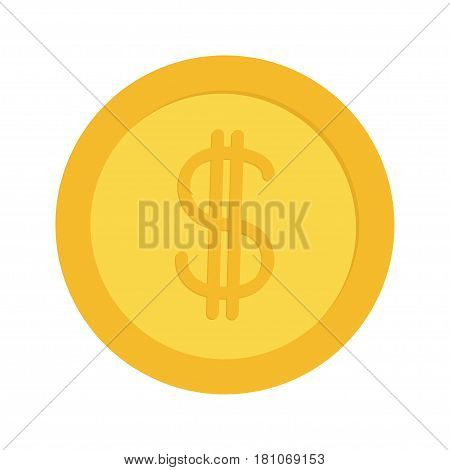 Gold coin money with dollar sign symbol. Cash business icon. Wealth concept. Flat design. Isolated. White background. Vector illustration