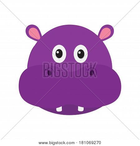 Hippopotamus head face. Cute cartoon character hippo with tooth. Violet behemoth river-horse icon. Baby animal collection. Education card for kids. Flat design. White background. Isolated. Vector