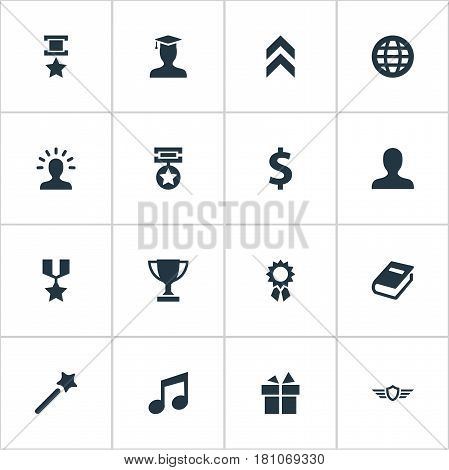 Vector Illustration Set Of Simple Champ Icons. Elements Trophy, Literature, Avatar And Other Synonyms Achievement, Member And Money.