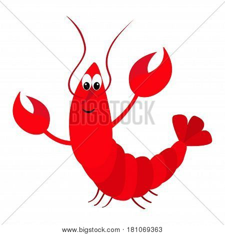 Lobster with claw. Cute cartoon character. Funny sea ocean animal. Baby collection. Flat design. Seafood element. Isolated. White background. Vector illustration