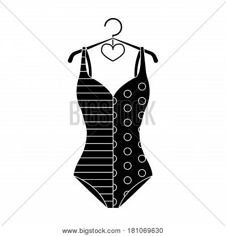 Blue and white swimsuit for competitive swimming. Swimsuit with checkered pattern.Swimcuits single icon in black style vector symbol stock web illustration.