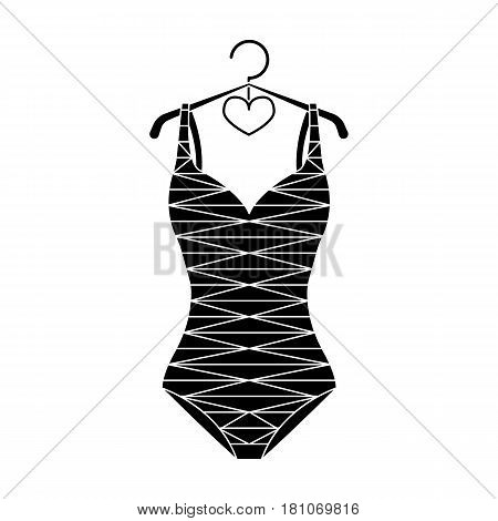 Blue swimsuit with sunflowers. Swimsuit for swimming in the pool.Swimcuits single icon in black style vector symbol stock web illustration.