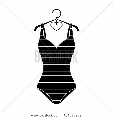 Bright striped swimsuit in the colors of the rainbow. Beach female form.Swimcuits single icon in black style vector symbol stock web illustration.