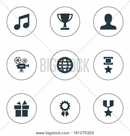 Vector Illustration Set Of Simple Achievement Icons. Elements Present, User, Melody And Other Synonyms Champion, Earth And Note.