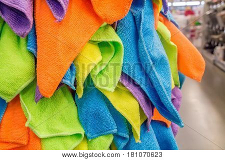 Closeup of assortment of colorful towels in store