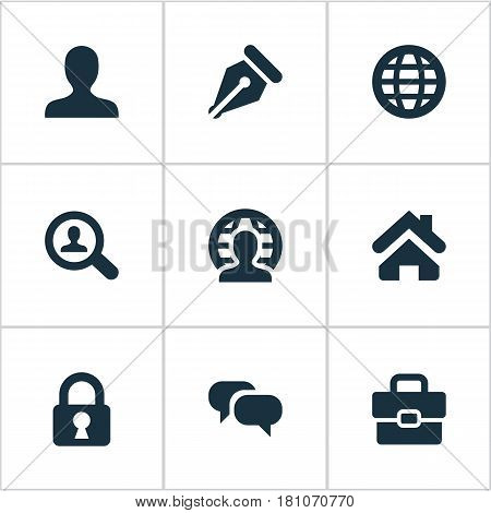 Vector Illustration Set Of Simple Business Icons. Elements Anonymous, Padlock, Chatting And Other Synonyms World, Portfolio And Talking.