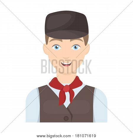 Belgian guy in a cap and waistcoat.The dark Belgian wolf. Belgium single icon in cartoon style vector symbol stock web illustration.