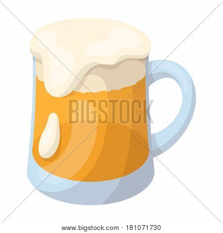 A glass of foamy Belgian beer.The dark Belgian wolf. Belgium single icon in cartoon style vector symbol stock web illustration.